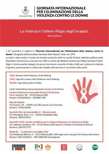 Locandina Giornata Mondiale per l'eliminazione della violenza contro le donne